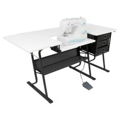 Sew Ready Eclipse Hobby Sewing Center Sewing Craft Table Sturdy Computer Desk with Drawers in Black/White, 13362 Sewing Craft Table, Sewing Desk, Craft Desk, Sewing Rooms, Craft Tables, Sewing Spaces, Craft Space, Craft Rooms, Fabric Storage