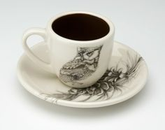 Espresso Cup and Saucer: Screech Owl 1 / Pine Cone - Espresso - Cups - Dinnerware - Types