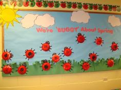 "Trinity Preschool Mount Prospect: Lady Bug ""We're ""buggy"" about spring"" bulletin board Ladybug Bulletin Boards, Kindergarten Bulletin Boards, Spring Bulletin Boards, Kindergarten Classroom, Decoration Creche, Classroom Displays, Classroom Door, Classroom Ideas, School Displays"