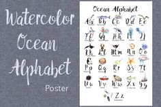 What You Get: - inches Watercolor Ocean Alphabet Poster - .png file - Hand-painted - Created for pleasant learning Ocean Bedroom Kids, Earth Day Clip Art, Sunflower Life Cycle, Apple Clip Art, Abc Poster, Watercolor Ocean, Journal Cards, Graphic Illustration, Illustrations
