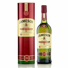 Jameson 12 Year Old Irish Whiskey.A full bodied, superbly mellow pot still Irish whiskey. Sherry sweetness, nutty flavor and mild woody undertones. Rich and lasting. Jameson Distillery, Jameson Irish Whiskey, Cough Syrup, Wine And Liquor, Wine And Spirits, Alcohol Spirits, Scotch Whisky, Bourbon, Whiskey Bottle