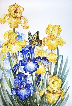 Butterfly Blue and Yellow Iris by HouseofChabrier.deviantart.com on @DeviantArt