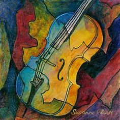 Classical Musical Instrument Paintings - Cello Babe by Susanne Clark