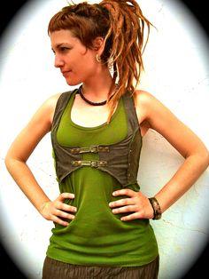 Green pixie underbust, woodland textured urban fairy vest - Custom made, choose your colors. €54.00, via Etsy.