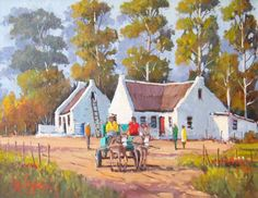 Willie Strydom - Shopping Done - 350 x 450 Landscape Art, Landscape Paintings, Oil Paintings, South Africa Art, African Art Paintings, Dutch House, South African Artists, Cottage Art, New Art