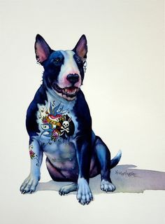 The Dogs - artnik Bull Terrier Tattoo, Bull Terrier Dog, Toy Yorkshire Terrier, Funny Animals, Cute Animals, Bully Dog, Desenho Tattoo, English Bull Terriers, Dog Paintings