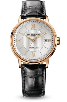 Discover the Classima 10037 leather and red gold watch for men with automatic movement, designed by Baume et Mercier, Swiss Watch Maker.