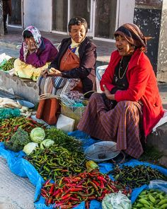 Red & Green Chilies - Street market in Bhutan