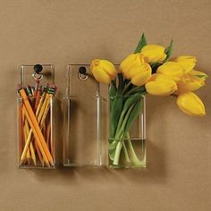 glass cylinder vase that hangs on wall | Hanging Glass Square Wall Pocket Vase Storage Bin Kitchen Organizer ...