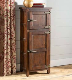 Portland Ice Box Storage Cabinet Our Portland Ice Box Storage Cabinet makes a gorgeous storage solution anywhere in the home. This sturdy wood cabinet resembles an antique jelly cabinet with vintage-style hardware and a distressed finish adding to the aut Small Storage Shelves, Storage Boxes, Tall Cabinet Storage, Jelly Cabinet, Coffee Table Bench, Family Room Furniture, Craftsman Furniture, Cabinet Making, Wood Cabinets