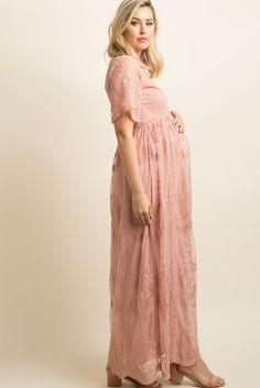 PinkBlush - Where Fashion Meets Motherhood Light Pink Lace Mesh Overlay Maternity Maxi Dress Pink Blush Maternity Dress, Maternity Dresses For Baby Shower, Maternity Maxi, Maternity Fashion, Pink Dress, Maternity Outfits, Maternity Pictures, Pink Lace, White Lace