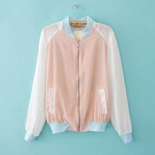 spring and summer fashion candy color patchwork color block short design chaiffon shirt baby jacket baseball uniform(China (Mainland))