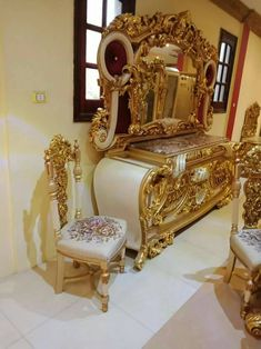 King Furniture, Antique Furniture, Gold Dresser, Victorian Fashion, Buffet, Wedding Gifts, Paradise, Dressing, Chandelier