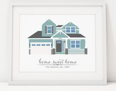 House Portrait Illustration Custom Print  Home by TheInkedLeaf