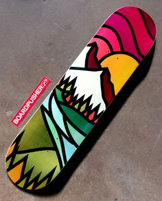 We get spoiled by picturesque moments like this in Colorado all the time and Jimmy Bryant has incorporated his style into a CO sunset for this week's Featured Deck. You can explore Jimmy's extensive portfolio at Painted Skateboard, Skateboard Deck Art, Surfboard Art, Skateboard Design, Custom Skateboard Decks, Custom Skateboards, Cool Skateboards, Art Grunge, Longboard Design