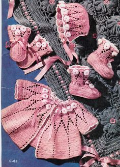 Vintage Baby Crocheted lacy 4 piece outfit by CreeksideCharms, $2.99