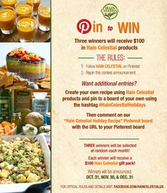 Enter to win the Hain Celestial #Holiday Recipe Pin2Win #Sweepstakes! See the official rules here: www.facebook.com/...