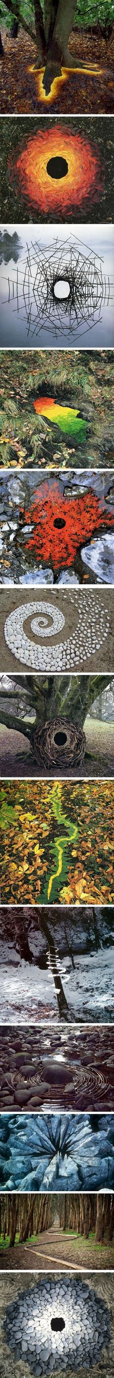 An Artist Used Nature To Create Some Amazing Land Art Very clever. An Artist Used Nature To Create Some Amazing Land Art Very clever…I especially like the 'glowi Land Art, Art Et Nature, Nature Artwork, Nature Artists, Art Environnemental, Instalation Art, Tree Roots, Wow Art, Environmental Art