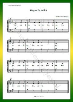 Zo gaat de molen  - Gratis bladmuziek van kinderliedjes in eenvoudige zetting voor piano. Piano leren spelen met bekende liedjes.