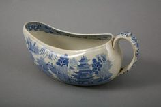 One of a pair of blue and white Spode piss pots, or bourdaloues. Society ladies would use these to discreetly relieve themselves while out and about. I'm curious, though - would you carry your own around with you, or would they be provided for the convenience of lady guests at any house/theatre/assembly rooms etc you might visit?  National Trust Inventory Number 929342.1