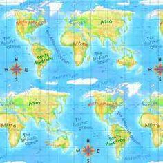 Animals Around the World #287. Continents. $7.00 per yard.