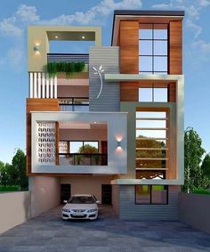 The exterior is the face of the house that everyone will see in the first part. Take a look at the world's most beautiful modern homes and find House Outer Design, House Outside Design, House Front Design, Small House Design, Modern Exterior House Designs, Modern House Plans, Modern House Design, Exterior Design, 3 Storey House Design