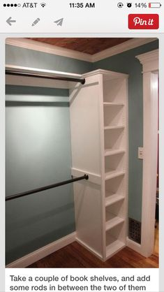 Closet idea: you can do the same set up in front of a smaller closet to expand the space! #closetorganizers