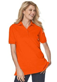 Woman Within Plus Size Top, Perfect Polo Short-Sleeve T-Shirt $10.99