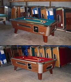 TWO VALLEY COMM. 7' COIN-OP BAR SIZE POOL TABLES MODEL ZD-5 REFURB W/GREEN CLOTH