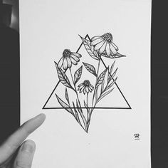 Another lovely geometric wild flowers geometric flower tattoos, geometric triangle tattoo, geometric tattoo simple Tattoo Drawings, Art Drawings, Simple Drawings, Sketch Tattoo, Drawing Sketches, Air Symbol, Geometric Drawing, Geometric Flower Tattoos, Geometric Shapes