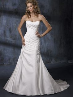Satin Ruched Modified Aline Gown. Simple and pretty... although I'm not a big fan of satin...