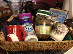 Christmas Eve surprise basket I just made for my boyfriend :) I feel pretty accomplished! Pjs, his fave Xmas movie, hot cocoa, cute cups. Good DIY gift for men.
