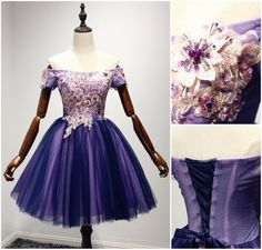 Custom made-to-order formal dress by GemGrace. Multiple colors and all sizes available. Additional photos also available upon request. Stunning A-line Purple Appliques Lace Off-the-shoulder Tulle Short Prom Dress 2016, Homecoming Dress 2016