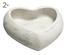 Set de 2 maceteros de cerámica - blanco