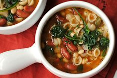 Olive Garden Inspired Minestrone Soup.  Use whole wheat pasta or quinoa for a healthier soup!
