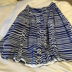 Anthropologie (Maeve) skirt Blue and white Anthropologie skirt.  Hits below the knees.  Great condition! Size 6P Anthropologie Skirts A-Line or Full