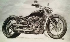 My Dream Bike - Softail Breakout - Drawn with Charcoal Pencil
