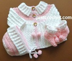 Free baby crochet pattern for three piece outfit http://www.justcrochet.com/coat-bonnet-booties-usa.html #justcrochet