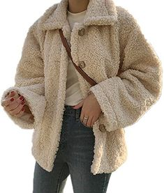 New Luodemiss Women's Faux Shearling Coat Lapel Sherpa Long Sleeve Front Button Down Jacket Outwear online shopping - Nanaclothing Coats For Women, Jackets For Women, Sweaters For Women, Faux Shearling Coat, Wool Coat, Faux Fur, Winter Outfits Men, Winter Ootd, Outfit Winter