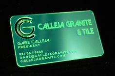 Custom Designed Business Card for Calleja Granite and Tile in neon green acrylic Business Card Design, Business Cards, Granite Tile, Custom Rubber Stamps, Marketing Branding, Price Quote, Fort Collins, Acrylic Colors, Neon Green