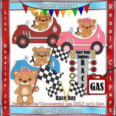 Racing Bears 1 - Clip Art by Angie Wenke