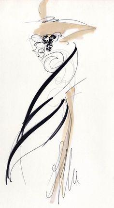 Fondazione Gianfranco Ferré / Collezioni / Donna / Prêt-à-Porter / 1988 / Primavera / Estate Fashion Illustration Sketches, Fashion Design Sketches, Illustration Art, Fashion Drawings, Drawing Sketches, Fashion Prints, Fashion Art, Croquis Fashion, Unique Drawings