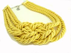 Bright Yellow Sailor's Knot Necklace ~ Irem Ozerdem Designs on Etsy Rope Jewelry, Beaded Jewelry, Diy Jewelry, Jewellery, Mellow Yellow, Bright Yellow, Nautical Necklace, Turkish Jewelry, Knot Necklace