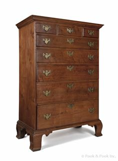 Pennsylvania Chippendale walnut tall chest of drawers, ca. resting on ogee feet, 62 h. Early American Furniture, Antique Furniture, Painted Furniture, Long Dresser, Furniture Styles, Furniture Ideas, Art Nouveau, Antique Chest, Georgian Homes