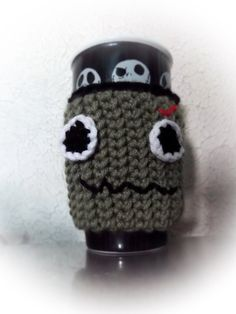 Dead cup cozy cup sleeve halloween cup sleeve by HomeHeartHearth, $5.00 Zombie, monster, fall crochet sleeve
