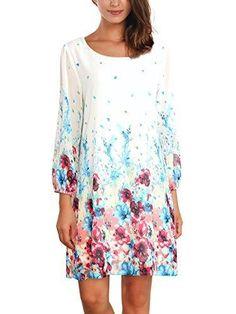 Oferta: 15.61€ Dto: -48%. Comprar Ofertas de DJT-Vestido para Mujer de Chifon con Estampado Floral Blanco Medium barato. ¡Mira las ofertas!