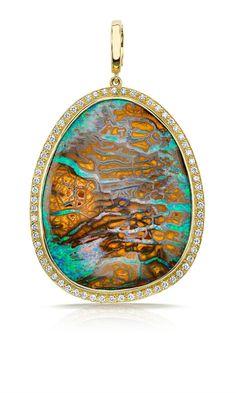 Pamela Huizenga boulder opal pendant #opaljewelry #ribbonopal