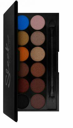 Sleek makeup palette in 'sunset' -shimmering shadows