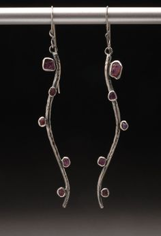 Earrings | Wendy Thurlow.     Sterling silver and raw ruby