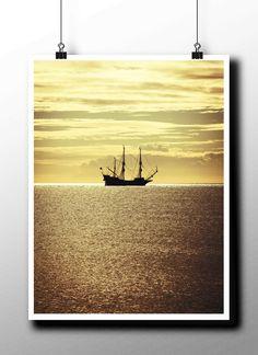 Ship - Photographic Poster, Giclee Print, Breathtaking Romantic Decor, Ancient Ship, Sea, Sun, Travel, Tropical, Nautical, Wall Art, by STRNART on Etsy